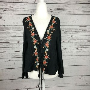 American Eagle Black Floral Embroidered Boho Top